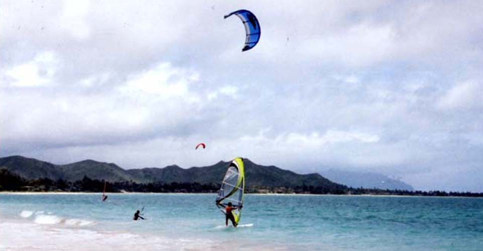Kite surfing and wind surfing at Kailua Beach.